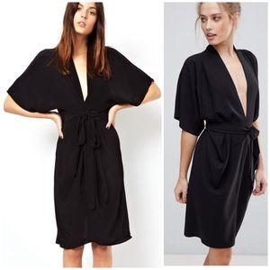 ASOS NWT Obi Kimono Wrap Dress V-Neck Black Sz 12